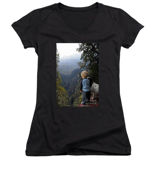 A Boy And His Dog Women's V-Neck T-Shirt (Junior Cut) by Robert Meanor