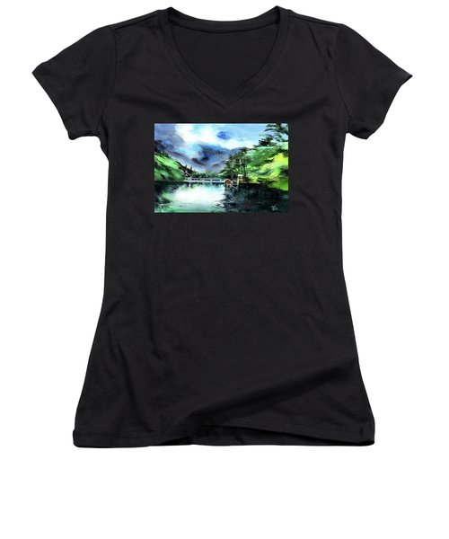 Women's V-Neck T-Shirt (Junior Cut) featuring the painting A Bridge Not Too Far by Anil Nene