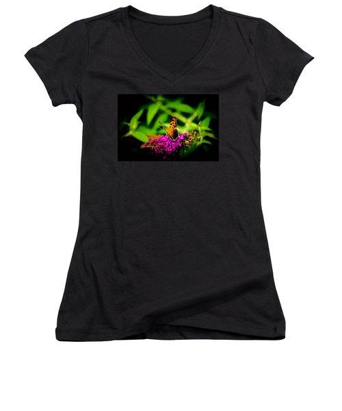 A Butterflies World  Women's V-Neck T-Shirt (Junior Cut) by Bruce Pritchett
