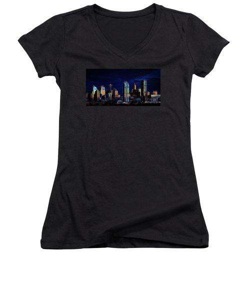 Women's V-Neck T-Shirt (Junior Cut) featuring the photograph A Calgary Sunrise by Brad Allen Fine Art
