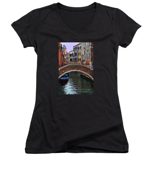 A Canal In Venice Women's V-Neck T-Shirt