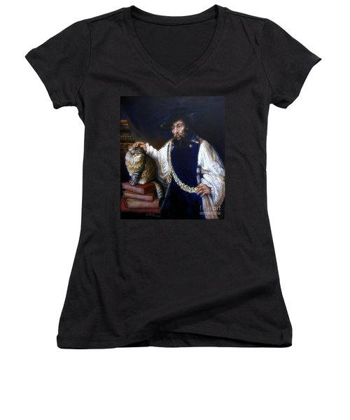 A Cat For Rembrandt_ Aristotle Caresses Calliope Women's V-Neck (Athletic Fit)