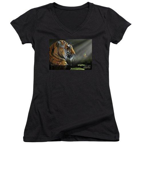 Women's V-Neck T-Shirt (Junior Cut) featuring the digital art A Chance Encounter II by Don Olea