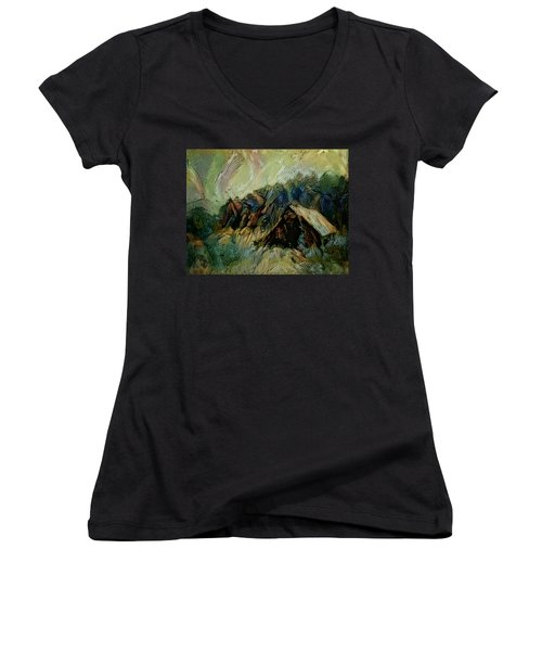 Women's V-Neck T-Shirt (Junior Cut) featuring the painting A Chance In The World Movie Dark Barn Crowded Into A Gully Between A Large Rocky Hill And A Grove Of by Mendyz