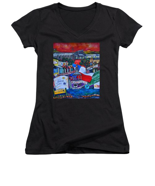 Women's V-Neck T-Shirt (Junior Cut) featuring the painting A Church For The City by Patti Schermerhorn