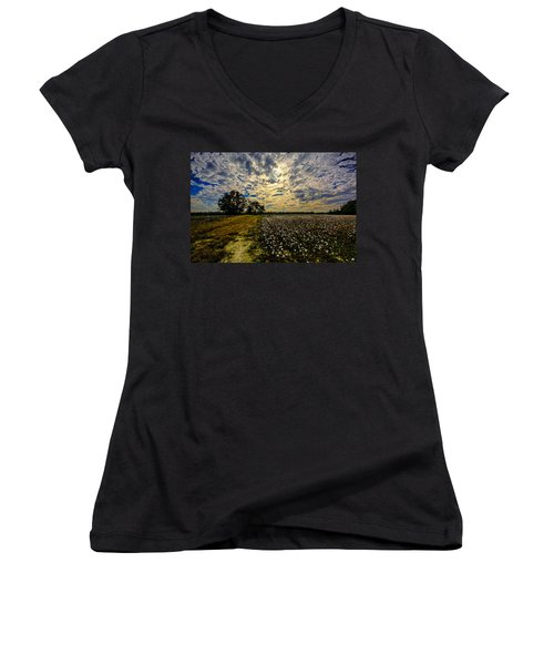 Women's V-Neck T-Shirt (Junior Cut) featuring the photograph A Cotton Field In November by John Harding