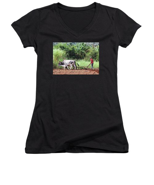 A Cuban Tractor Women's V-Neck (Athletic Fit)