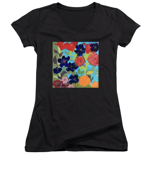 Women's V-Neck T-Shirt featuring the painting A Dandelion Weed Making It's Way In The Garden by Robin Maria Pedrero