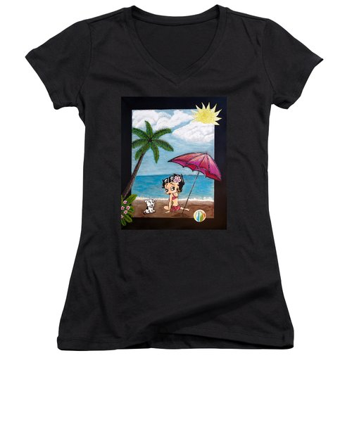 A Day At The Beach Women's V-Neck