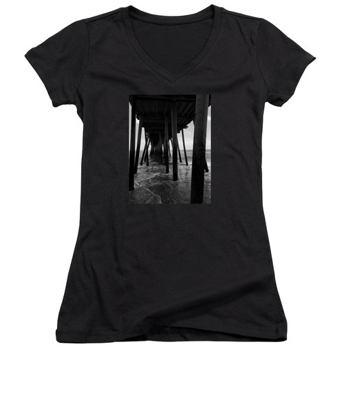 Women's V-Neck T-Shirt (Junior Cut) featuring the pyrography A Day At Virginia Beach #2 by Rebecca Davis