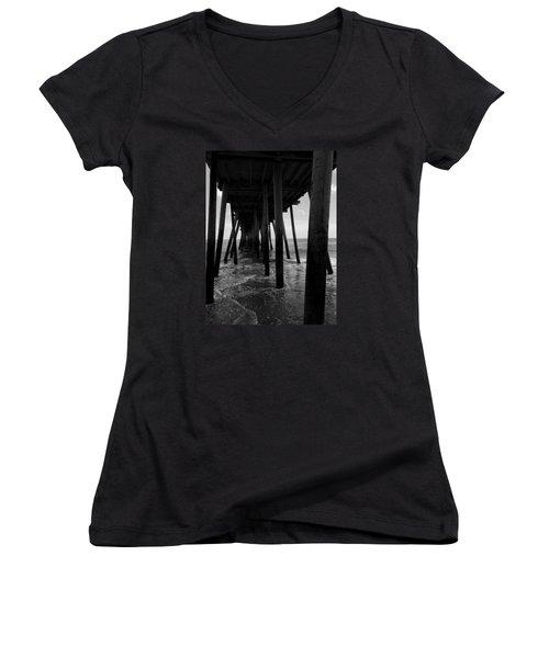 A Day At Virginia Beach #2 Women's V-Neck T-Shirt (Junior Cut) by Rebecca Davis