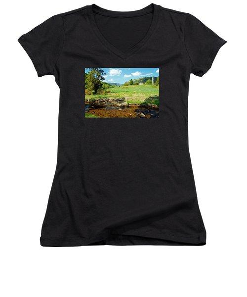 A Day In Glendalough Women's V-Neck T-Shirt (Junior Cut) by Martina Fagan