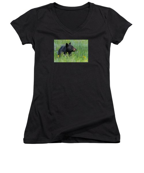 Women's V-Neck T-Shirt (Junior Cut) featuring the photograph A Field Of Dreams by Yeates Photography