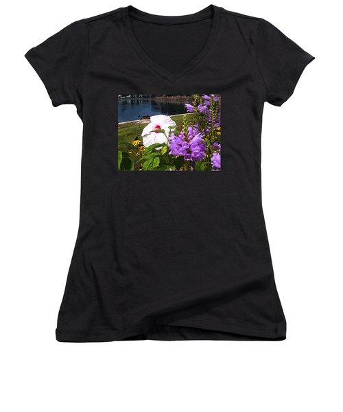 A Flower Blossoms Women's V-Neck T-Shirt (Junior Cut) by B Wayne Mullins