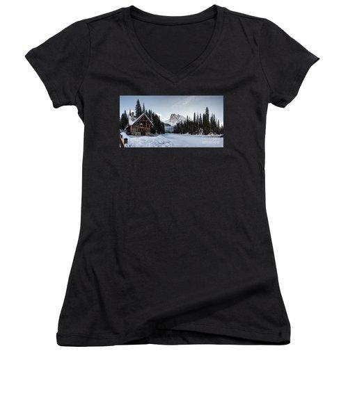 A Frozen Emerald Lake Morning Women's V-Neck T-Shirt (Junior Cut) by Brad Allen Fine Art