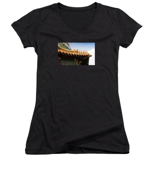Women's V-Neck T-Shirt (Junior Cut) featuring the photograph A Golden Parade by Rebecca Davis