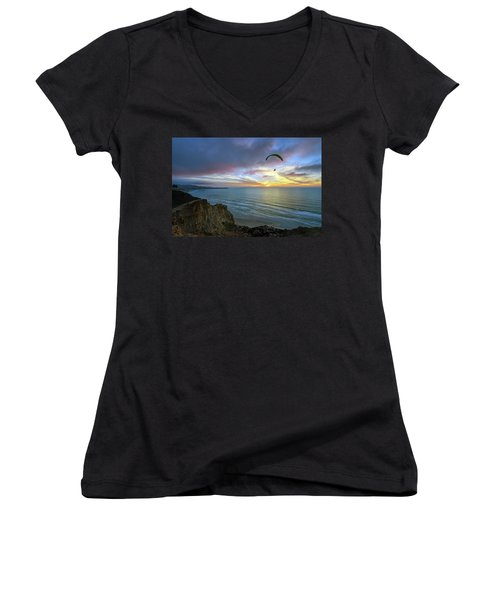 A Hang Glider And A Sunset Women's V-Neck