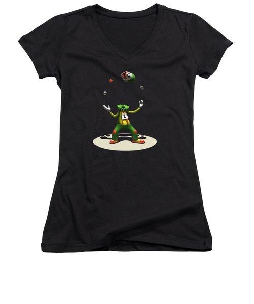 Women's V-Neck T-Shirt (Junior Cut) featuring the digital art A Hard Act To Follow by Ben Hartnett