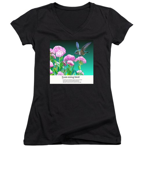 A Hummingbird Visits Women's V-Neck (Athletic Fit)