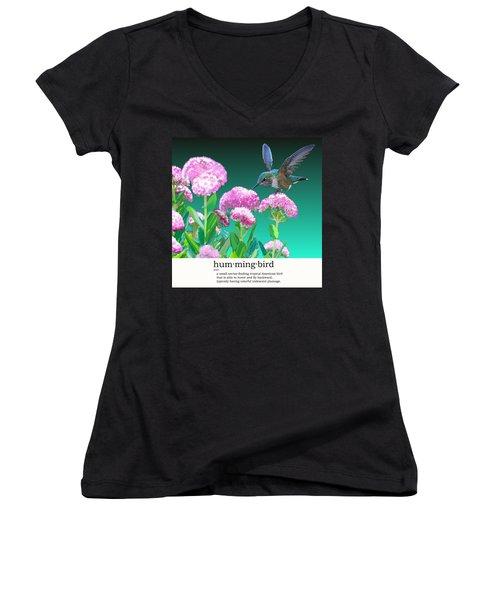 A Hummingbird Visits Women's V-Neck T-Shirt