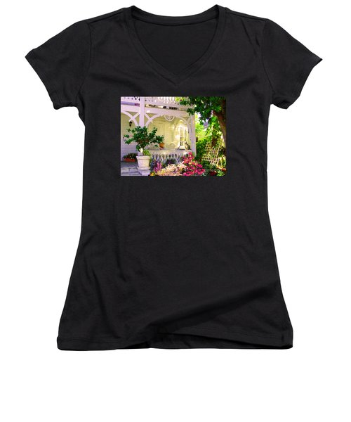 A Key West Porch Women's V-Neck T-Shirt (Junior Cut) by David  Van Hulst