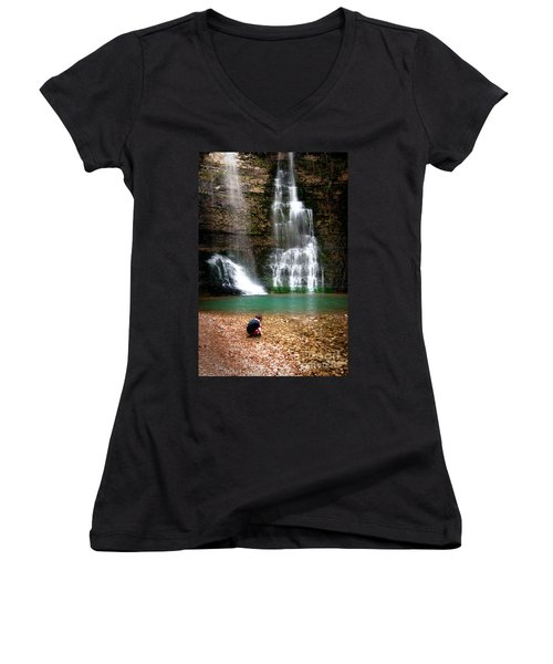 Women's V-Neck T-Shirt (Junior Cut) featuring the photograph A Moment In Time by Tamyra Ayles