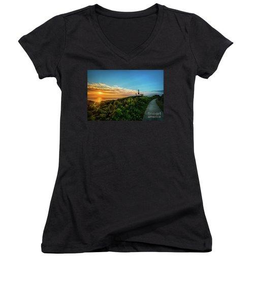 A Montauk Lighthouse Sunrise Women's V-Neck