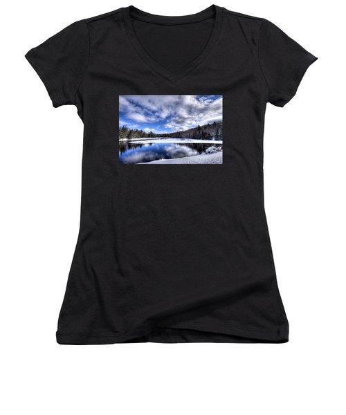 Women's V-Neck T-Shirt (Junior Cut) featuring the photograph A Moose River Snowscape by David Patterson