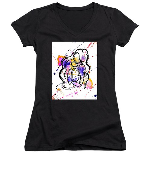 A Mother's Love Women's V-Neck T-Shirt (Junior Cut) by Diamin Nicole