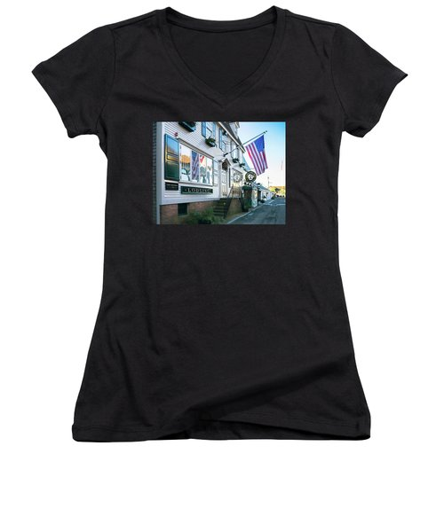 Women's V-Neck T-Shirt (Junior Cut) featuring the photograph A Newport Wharf by Nancy De Flon