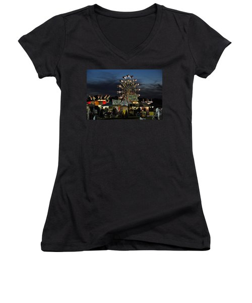 Women's V-Neck T-Shirt (Junior Cut) featuring the photograph A Night At The Fair by John Black