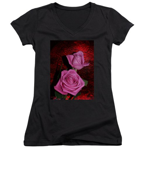 A Pair Of Pink Roses Women's V-Neck