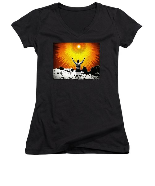 Women's V-Neck T-Shirt (Junior Cut) featuring the photograph A Place To Abandon Yourself by Glenn McCarthy Art and Photography