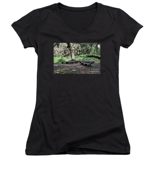 Women's V-Neck T-Shirt (Junior Cut) featuring the photograph A Place To Rest by Carol  Bradley