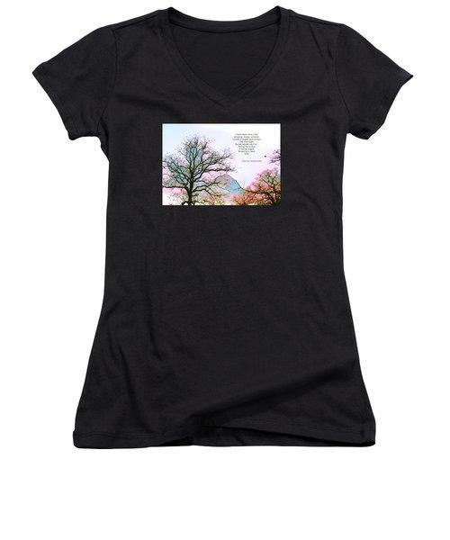 Women's V-Neck T-Shirt (Junior Cut) featuring the photograph A Poem And A Tree I by Carolina Liechtenstein