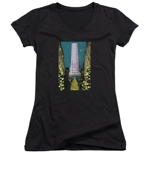 A Rocking Christmas Women's V-Neck T-Shirt (Junior Cut) by Diana Angstadt