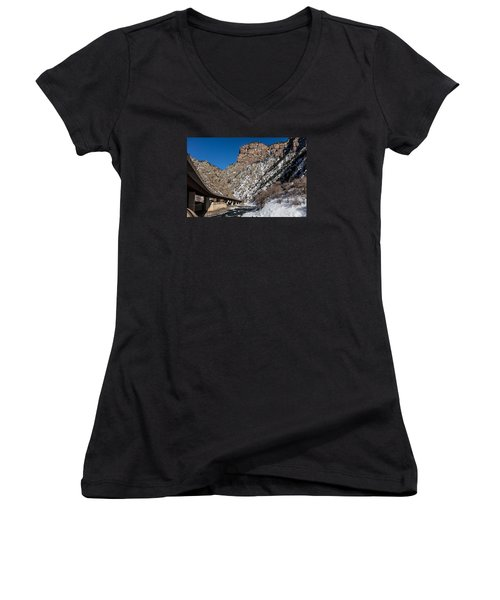 A Section Of The World-famous Glenwood Viaduct Women's V-Neck T-Shirt (Junior Cut) by Carol M Highsmith