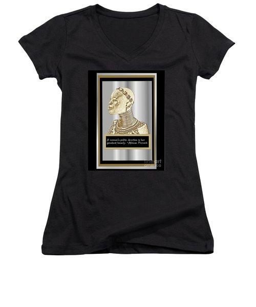 Women's V-Neck T-Shirt (Junior Cut) featuring the digital art A Sisters Portrait 1 by Jacqueline Lloyd