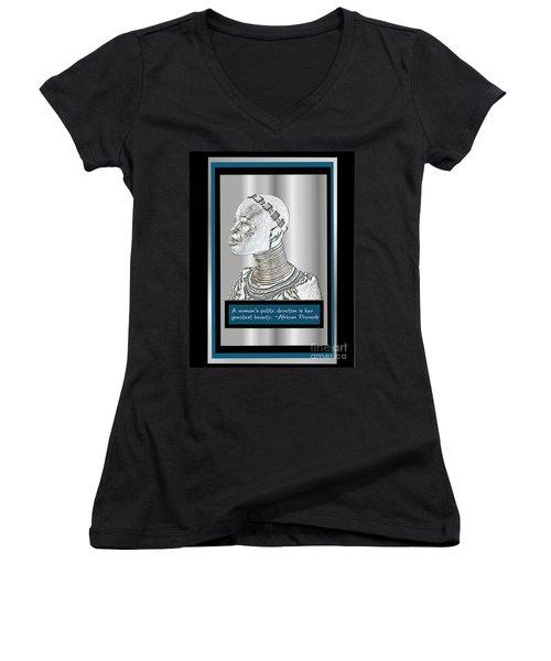 Women's V-Neck T-Shirt (Junior Cut) featuring the digital art A Sisters Portrait 2 by Jacqueline Lloyd