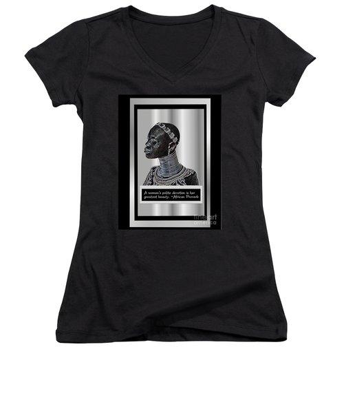 Women's V-Neck T-Shirt (Junior Cut) featuring the digital art A Sisters Portrait by Jacqueline Lloyd