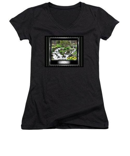 Women's V-Neck T-Shirt (Junior Cut) featuring the photograph A Splendid Day On Logging Creek by Susan Kinney