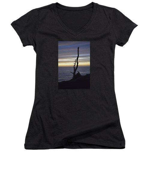 A Sunset Women's V-Neck T-Shirt (Junior Cut) by Alex King