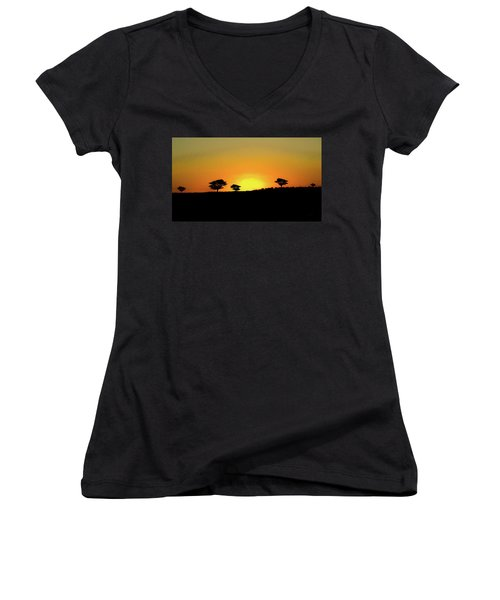 A Sunset In Namibia Women's V-Neck T-Shirt (Junior Cut) by Ernie Echols