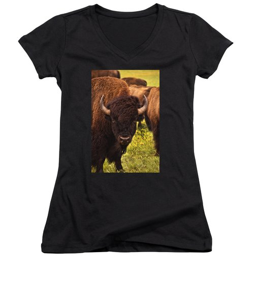 A Thoughful Moment Women's V-Neck T-Shirt (Junior Cut) by Tamyra Ayles