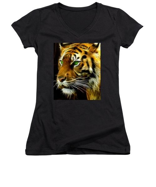 A Tiger's Stare Women's V-Neck T-Shirt