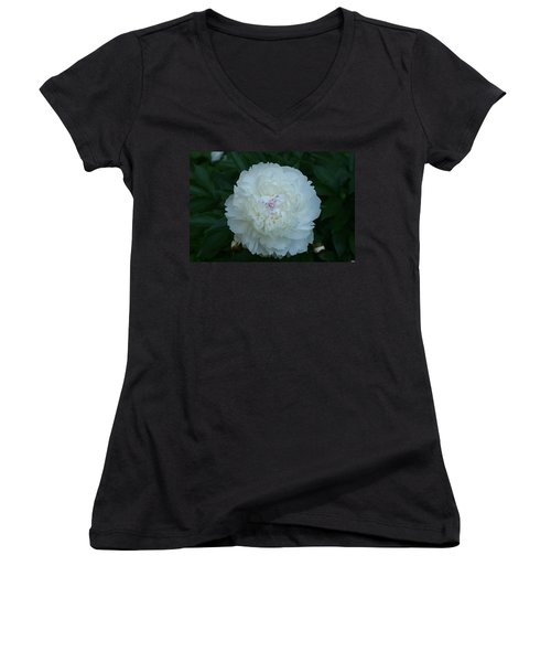 Women's V-Neck T-Shirt (Junior Cut) featuring the digital art A Touch Of Pink by Barbara S Nickerson