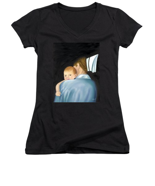 Comforting A Tradition Of Nursing Women's V-Neck T-Shirt (Junior Cut) by Marlyn Boyd