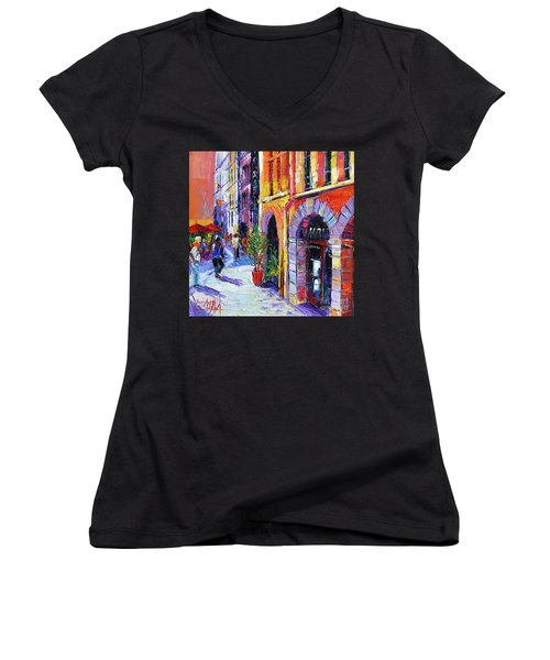 A Walk In The Lyon Old Town Women's V-Neck (Athletic Fit)