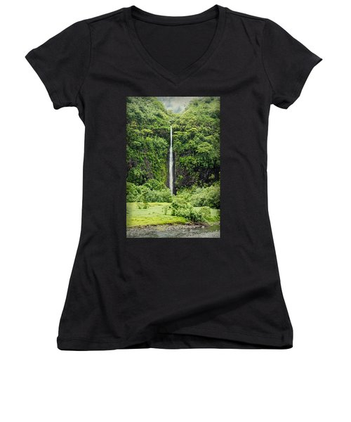 A Waterfall In Tahiti Women's V-Neck T-Shirt