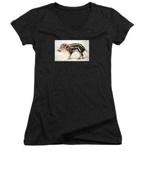 A Wild Boar Piglet Women's V-Neck T-Shirt (Junior Cut) by Hans Hoffmann